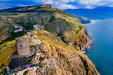 Aerial of the castle and bay of Balaklava, Crimea, Russia