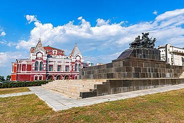 Monument to Vasily Chapaev before the Samara Academic Gorkiy Drama Theater, Samara, Russia