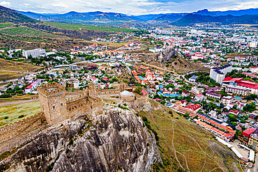 Aerial of the Genoese fortress of Sudak, Crimea, Russia