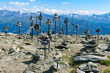 Stone collections n the Unesco site great Alteschglacier, Bernese Alps, Switzerland