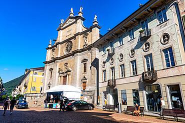 Downtown of the Unesco site three castles of Bellinzona, Ticino, Switzerland