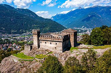 Aerial of Sasso Corbaro Castle, Unesco site three castles of Bellinzona, Ticino, Switzerland