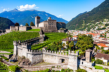 Aerial of the Castlegrande, Unesco site three castles of Bellinzona, Ticino, Switzerland