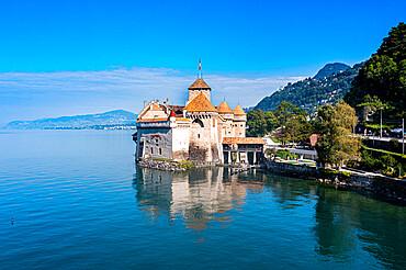 Aerial of the Chillon Castle, Lake Geneva, Switzerland