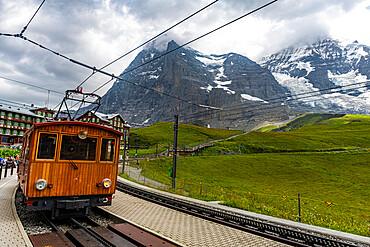 The Jungfrau railway before the Eiger North Face, Kleine Scheidegg, Switzerland