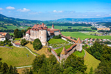 Aerial of the Gruyere castle, Fribourg, Switzerland