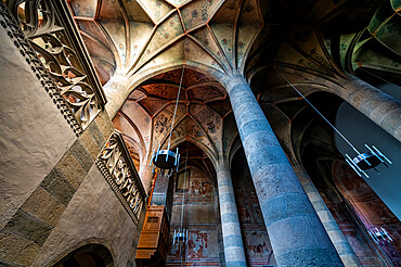 Interior of the Benedictine Convent of St. John in Mustair on the Swiss alps, Unesco world heritage, Switzerland