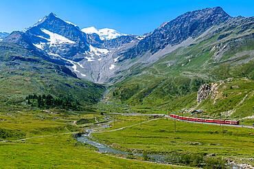 Unesco world heritage site Rhaetian Railway crossing the Bernina pass, Switzerland