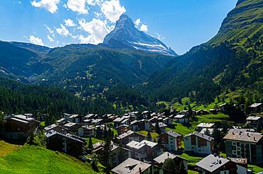 The Matterhorn, behind Zermatt, Valais, Swiss Alps, Switzerland, Europe