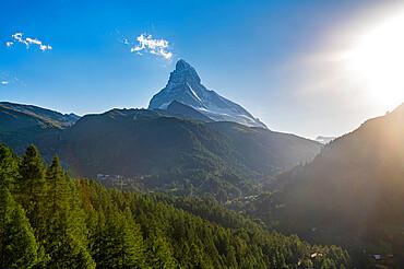 The Matterhorn, behind Zermatt at sunset, Valais, Swiss Alps, Switzerland, Europe