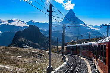 Gornergrat railway before the Matterhorn, Gornergrat, Zermatt, Switzerland