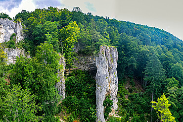 Aerial of the Geissenkloesterle, UNESCO World Heritage Site, Caves and Ice Age Art in the Swabian Jura, Baden-Wurttemberg, Germany, Europe