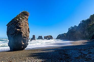 Giant rock outcrop, Cape giant, Sakhalin, Russia