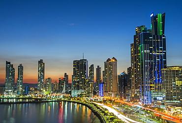 The skyline of Panama city at night, Panama City, Panama, Central America