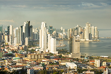 View over the skyline of Panama City from El Ancon, Panama, Central America