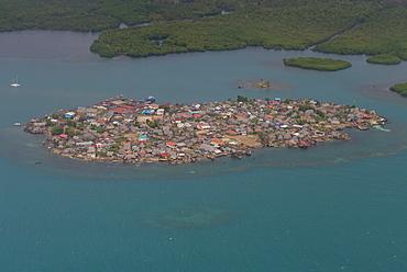 Aerial of a densely populated island, San Blas Islands, Kuna Yala, Panama, Central America
