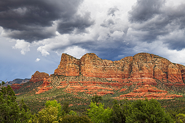Moody sky over the Red-Rock buttes, Sedona, Arizona, United States of America, North America