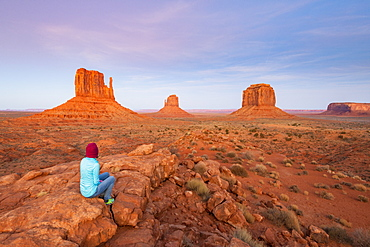 Sandstone buttes in Monument Valley Navajo Tribal Park on the Arizona-Utah border, United States of America, North America