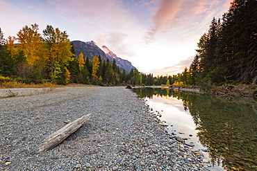 Sunset at Avalanche Creek, Glacier National Park, Montana, United States of America, North America