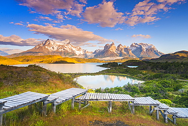 Sunrise over Lake Pehoe, Torres Del Paine National Park, Patagonia, Chile, South America