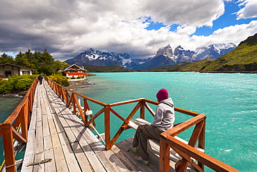 Woman enjoying the view, Torres Del Paine National Park, Patagonia, Chile, South America