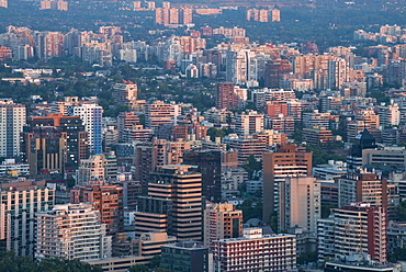View of the city from Cerro San Cristobal, Santiago, Chile, South America