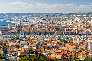 View over the Old port from Notre Dame, Marseille, Bouches du Rhone, Provence, Provence-Alpes-Cote d'Azur, France, Mediterranean, Europe