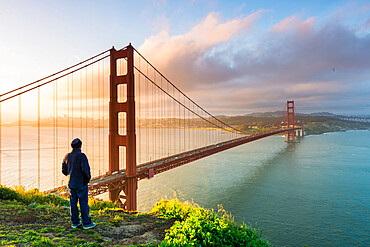 View of the city and Golden gate bridge from Marin Headlands San Francisco, California, United States