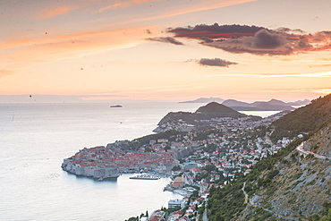 Sunset over the ofd town, UNESCO World Heritage Site, Dubrovnik, Croatia, Europe