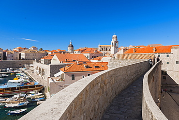Dubrovnik Harbour and walls, UNESCO World Heritage Site, Dubrovnik, Croatia, Europe