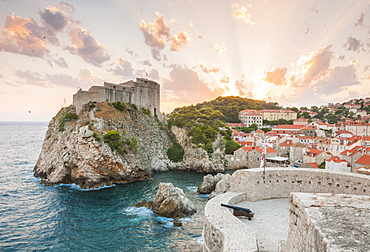 View of the old town from the city walls, UNESCO World Heritage Site, Dubrovnik, Croatia, Europe