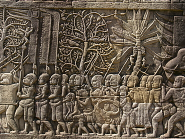 Detail of bas relief, Angkor Wat Archaeological Park, UNESCO World Heritage Site, Siem Reap, Cambodia, Indochina, Southeast Asia, Asia