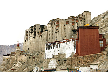 Palace in Leh with LAMO house below. Ladakh, India, Asia