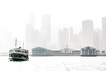 Star Ferry leaving Central Pier, Hong Kong, China, Asia