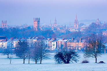 Oxford from South Park in winter, Oxford, Oxfordshire, England, United Kingdom, Europe