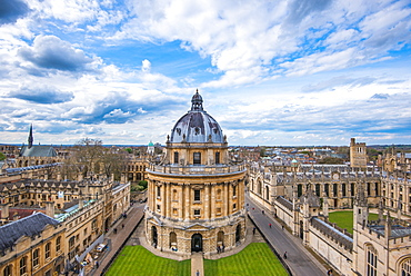 Radcliffe Camera and the view of Oxford from St. Mary's Church, Oxford, Oxfordshire, England, United Kingdom, Europe