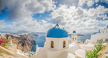 Church Belltowers in Imerovigli, Santorini, Cyclades, Aegean Islands, Greek Islands, Greece, Europe