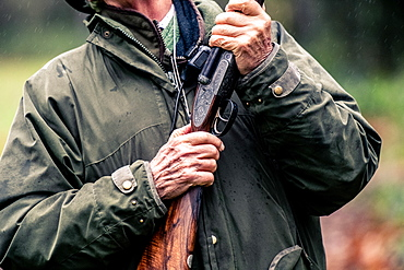 Hands holding a gun ready to shoot, United Kingdom, Europe