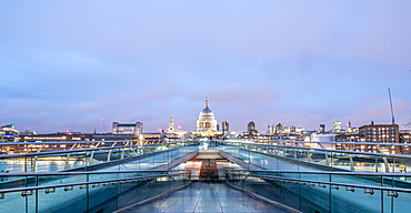 Landscape photo of The Millennium Bridge with St. Pauls in the background, London, England, United Kingdom, Europe