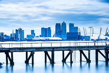 Canary Wharf from London Docklands, London, England, United Kingdom, Europe