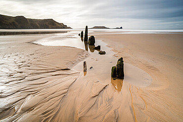 Helvetia shipwreck at low tide, Rhossili Bay, Gower Peninsula, South Wales, United Kingdom, Europe