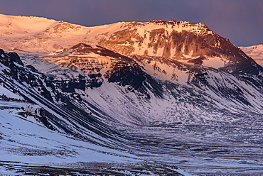Snow covered mountains in March evening sunlight, Snaefellsnes Peninsula, Iceland, Polar Regions