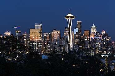 Seattle skyline at sunset, Seattle, Washington State, United States of America, North America