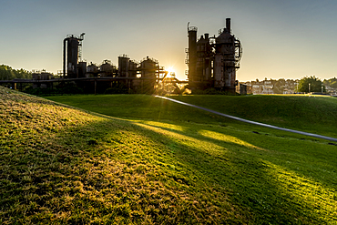 Old gas works at Gas Works Park, Seattle, Washington State, United States of America, North America