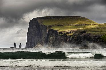 Cliff and sea-stacks as seen from Tjornuvik, Streymoy, Faroe Islands, Denmark, Atlantic, Europe