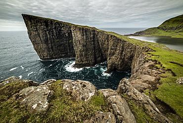 Traelanipa cliffs, Vagar Island, Faroe Islands, Denmark, Atlantic, Europe