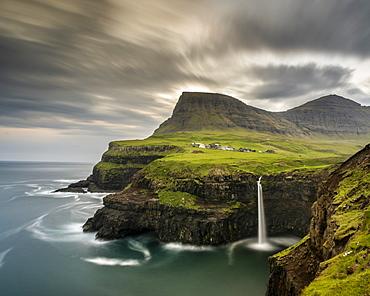 Mulafossur Waterfall, Vagar Island, Faroe Islands, Denmark, Atlantic, Europe