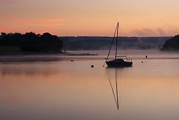 Wimbleball Lake at dawn, Exmoor National Park, Somerset, England, United Kingdom, Europe
