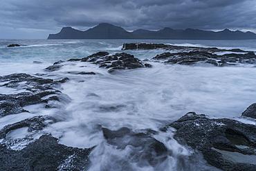 Swirling tide at dawn, Gjogv, Eysturoy, Faroe Islands, Denmark, Atlantic, Europe