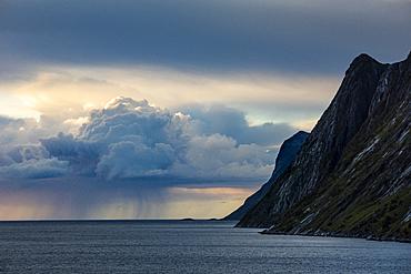 Rain cloud and mountain, Senja, Norway, Scandinavia, Europe
